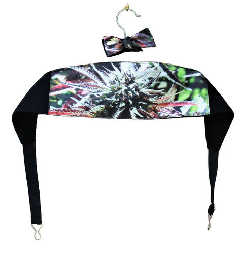 Cummerbund & Bow Tie for Men, Cannabis print, Marijuana print