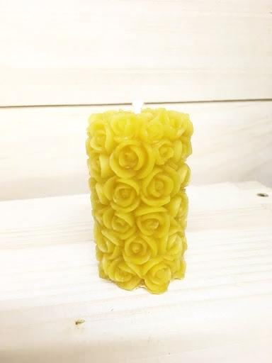 Beeswax Rose Pillar Candle