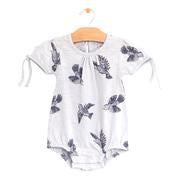 Organic Cotton  Arm Tie Bubble Romper - Bluebirds