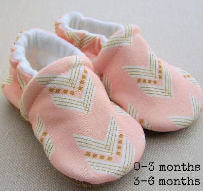 Organic Cotton Knit Slippers - Coral Chevron