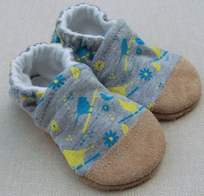Organic Cotton Knit Slippers - Birds on a Branch
