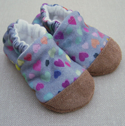 Organic Cotton Knit Slippers - Watercolor Hearts