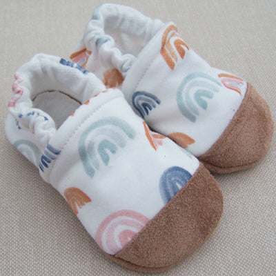 Organic Cotton Knit Slippers - Watercolor Rainbow
