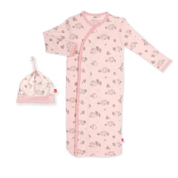 Modal Magnetic Gown & Hat - Pink Koala Cuddles