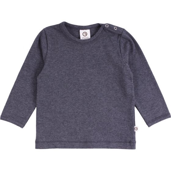 Solid Long Sleeve Cozy Me Tee - Dark Grey Melange