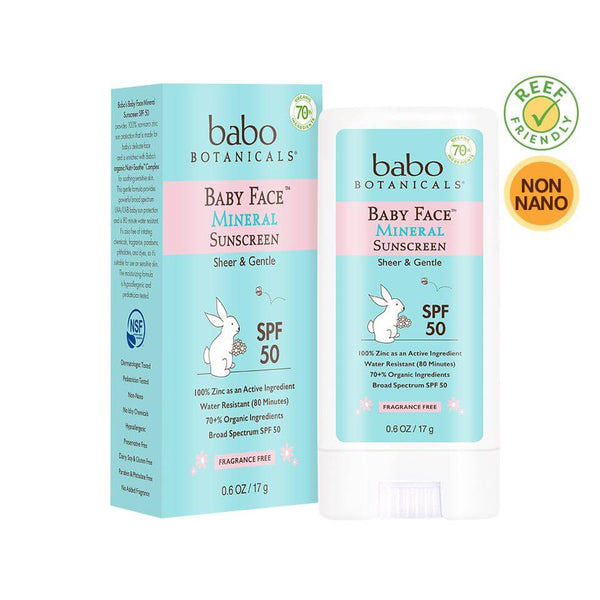 Fragrance Free SPF 50 Baby Face Mineral Sunscreen Stick