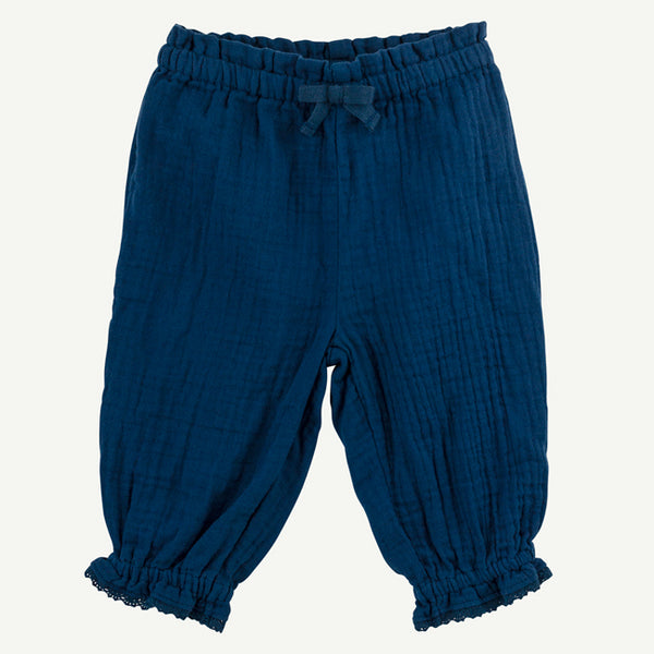 Navy Harem Pant with Ruffles and Lace