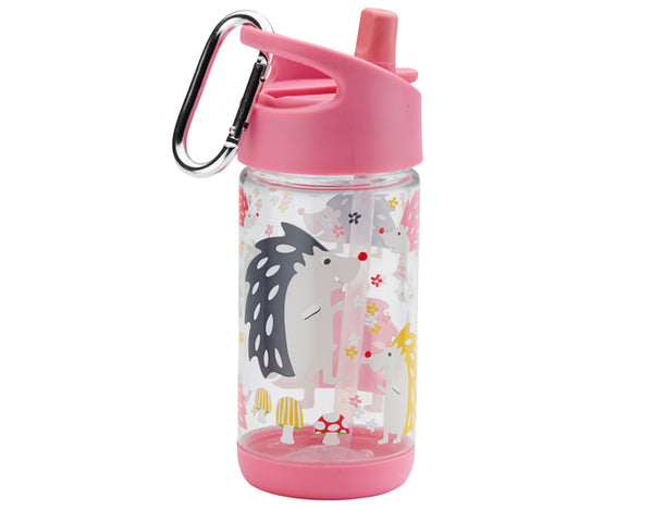Clear Tritan Flip & Sip Water Bottle - Hedgehog