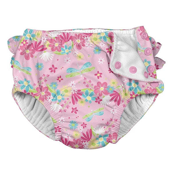 Ruffle Snap Reusable Swimsuit Diaper -Light Pink Dragonfly Floral