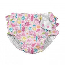 Ruffle Snap Reusable Swimsuit Diaper - Pink Sealife