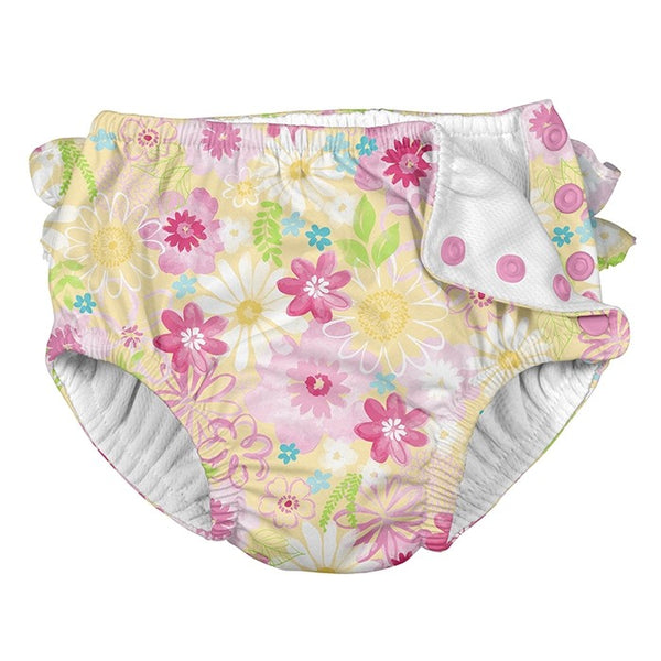 Ruffle Snap Reusable Swimsuit Diaper - Yellow Watercolor Floral
