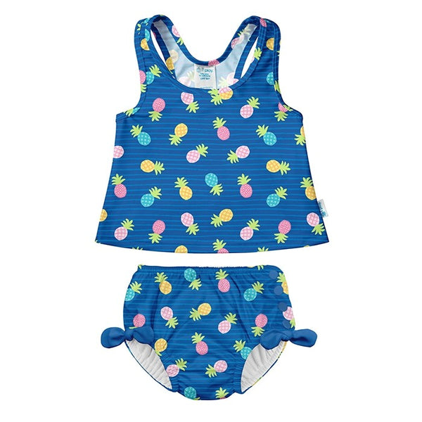 Two Piece Bow Bikini w Snap Reusable Swim Diaper - Pineapple Stripe