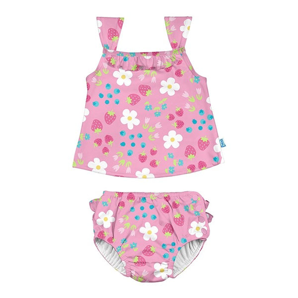 Two Piece Ruffle Bikini w Snap Reusable Swim Diaper - Light Pink Daisy Fruit