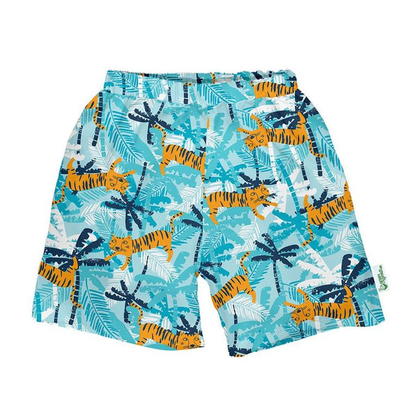 Classic Swim Trunks with Built In Reusable Diaper - Aqua Tiger