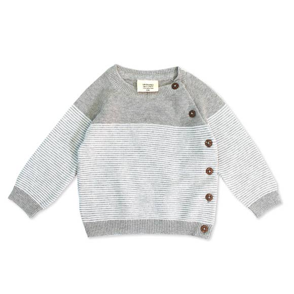 Knitted Sweater Pullover - Heather Gray