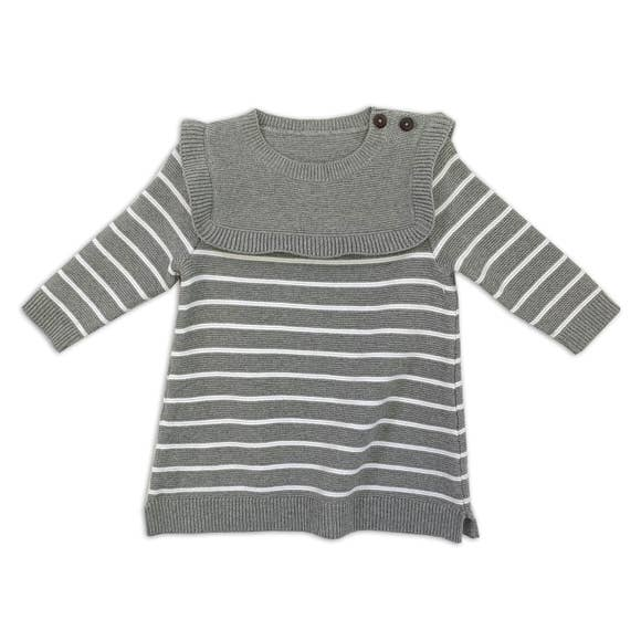 Ruffle Sweater Knit Dress - Heather Gray