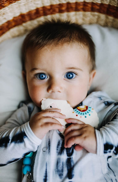 Silicone Teether With Clip - Llama