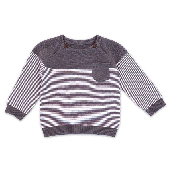 Knit Raglan Button Pullover - Charcoal Heather