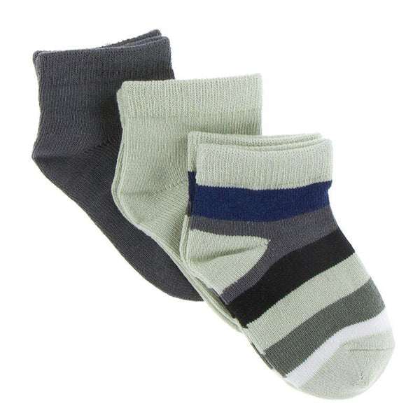 Low Sock Set - Aloe, Stone, & Zoology Stripe