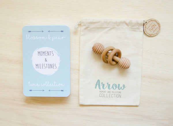 Twin Baby Milestone Cards -  Arrow
