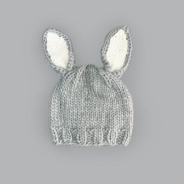 Bailey Bunny Knit Hat - Gray With White Ears