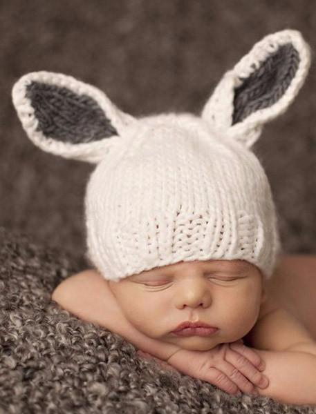 Bailey Bunny Knit Hat - White With Gray Ears