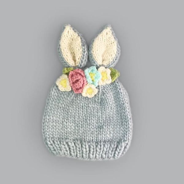 Bailey Bunny Knit Hat - Gray With Flowers
