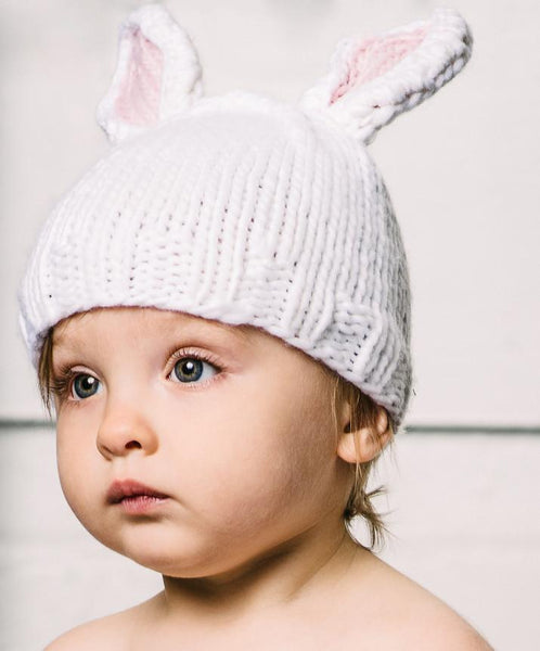 Bailey Bunny Knit Hat - White With Pink Ears