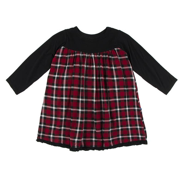 Kickee Class Swing Dress - Crimson Holiday Plaid