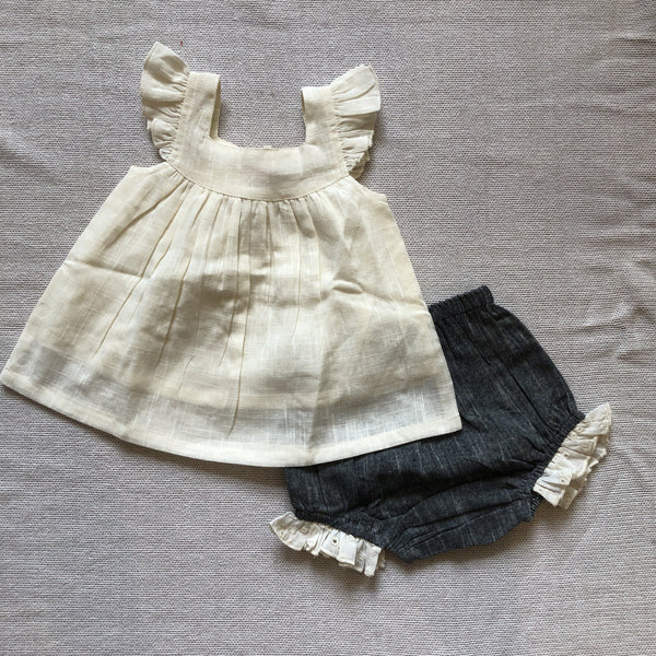 Ivory Top and and Chambray Diaper Cover Set