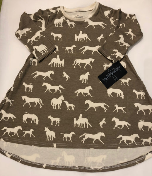 Organic Cotton Long Sleeve Dress (Hi - Lo) - Cream Horses