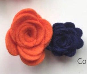 Wool Blend Double Flower Hair Clip - Various
