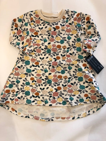 Organic Cotton Long Sleeve Dress (Hi - Lo) - Flowers
