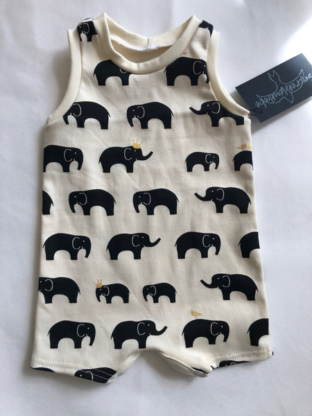 Organic Cotton Tank Romper - Elephants