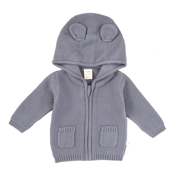 Knitted Hoodie Cardigan - Soft Grey