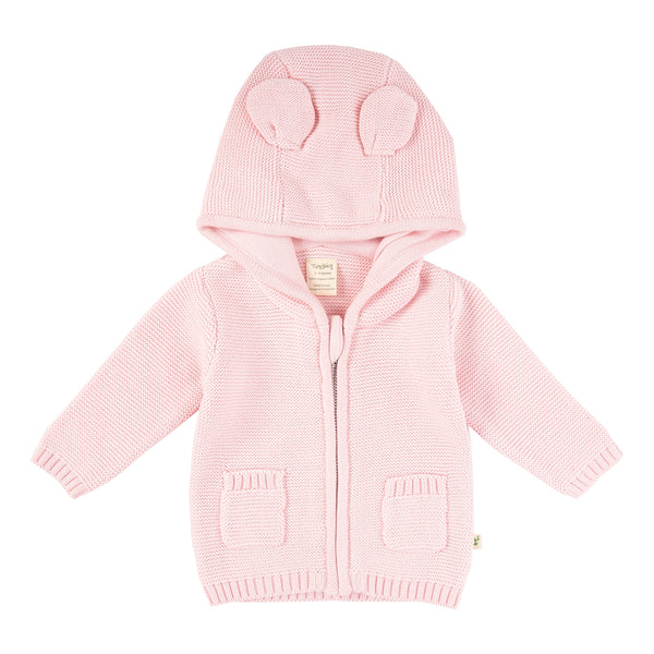 Knitted Hoodie Cardigan - Soft Pink