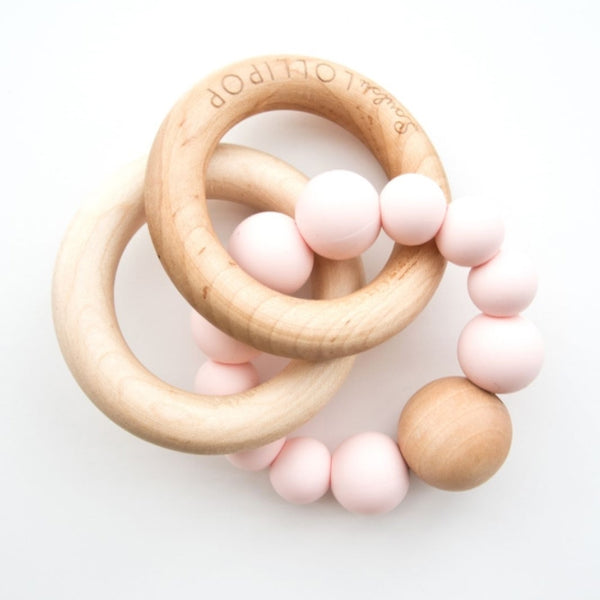 Bubble Silicone & Wood Teether - Pink Quartz