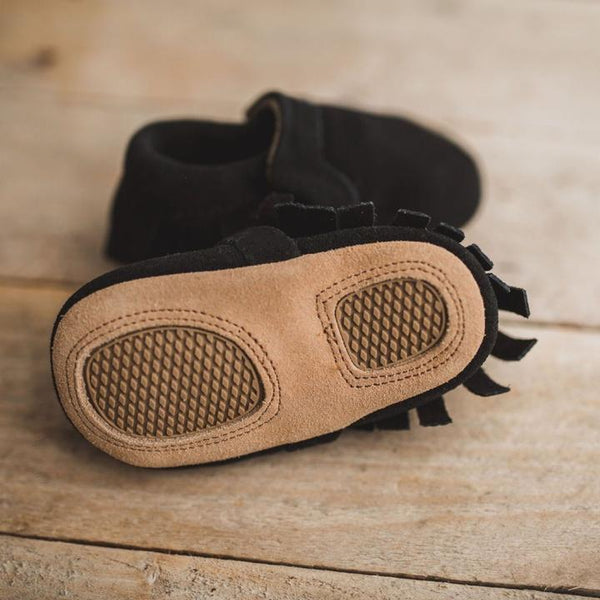 Soft Sole Suede Moccasin - Black