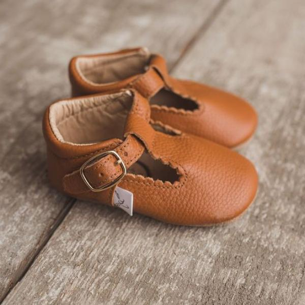 Pecan T-Bar Moccasin with Anti-Slip Sole