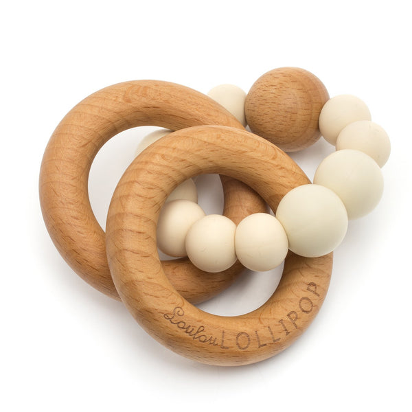 Bubble Silicone & Wood Teether - Beige