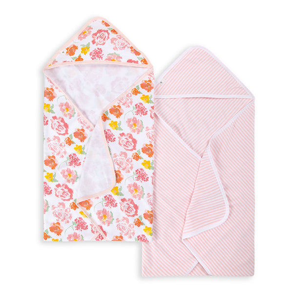 Rosy Spring Organic Hooded 2 Pack Towels