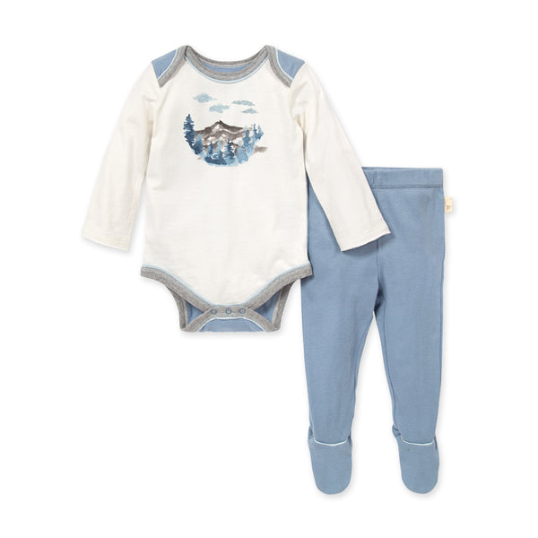 Mountainscape Bodysuit and Footie Set