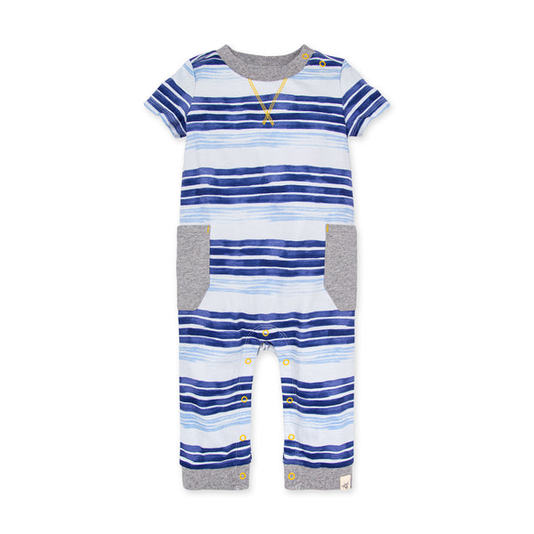 Oversized Painted Stripe Organic Baby Jumpsuit