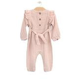 Muslin Long Flutter Romper - Soft Rose