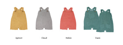 Organic Muslin Short Overalls - Various Colors