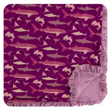 Kickee Ruffle Toddler Blanket - Melody Sharks