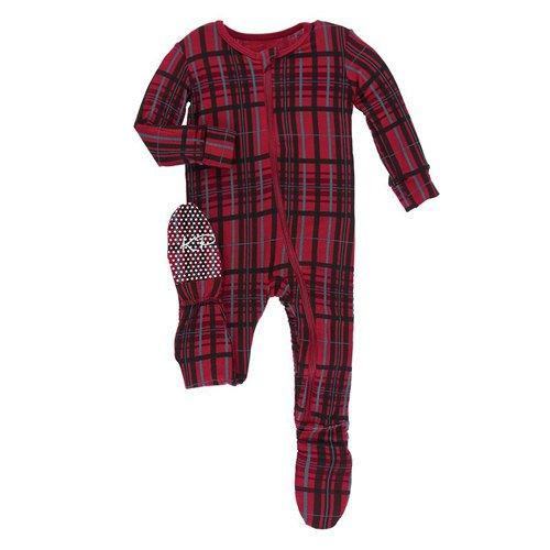 Print Footie w/ Zipper- Christmas Plaid