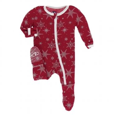 Classic Footie with Zipper - Crimson Snowflakes