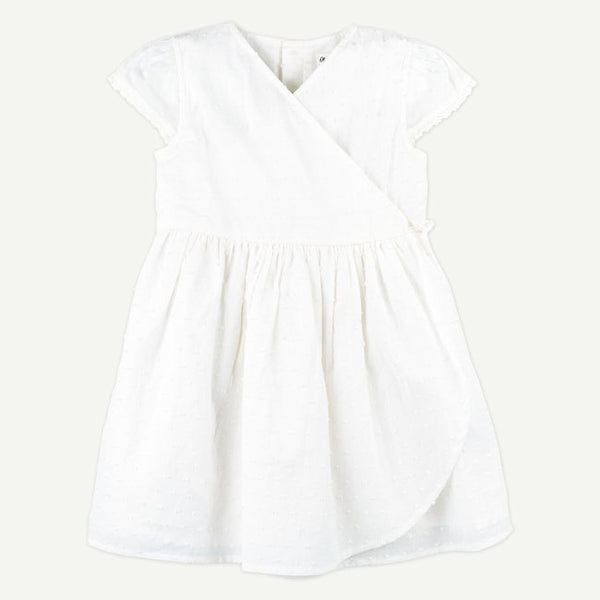Toddler White Woven Wrap Dress