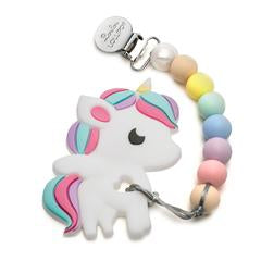 Silicone Teether With Clip - Unicorn - Cotton Candy